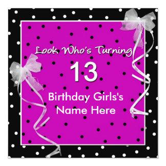 13th Birthday Party - Polka Dots Card