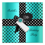 "13th Birthday Party Polka Dots Teal Blue 5.25"" Square Invitation Card"