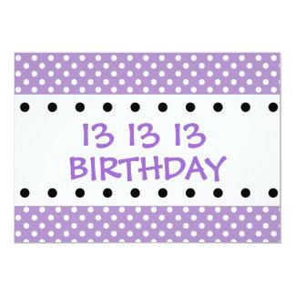 13th Birthday Party Purple Polka Dots V01F Card