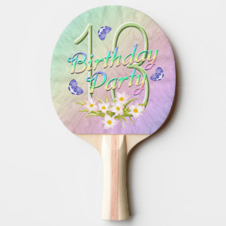13th Birthday Party Rainbow and Butterflies Ping-Pong Paddle