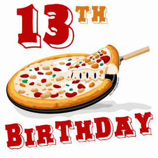 13th Birthday Pizza Party Acrylic Cut Outs