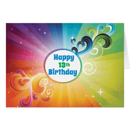 13th Birthday Religious Card Rainbow Blessings
