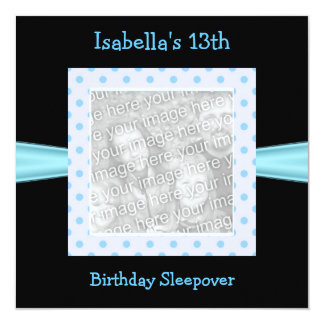 "13th Birthday Sleepover Black Blue Spots Photo 5.25"" Square Invitation Card"