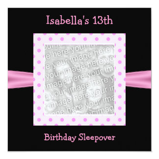 "13th Birthday Sleepover Black Pink Spots Photo 5.25"" Square Invitation Card"