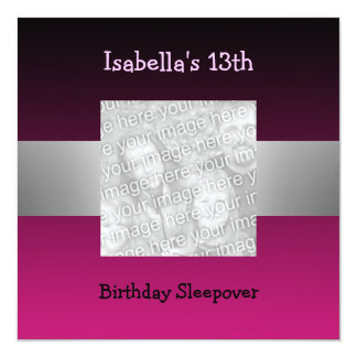 13th Birthday Sleepover Silver Pink Photo 2 13 Cm X 13 Cm Square Invitation Card