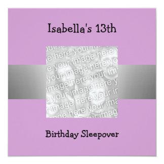 13th Birthday Sleepover Silver Purple Photo 13 Cm X 13 Cm Square Invitation Card