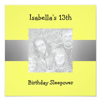 13th Birthday Sleepover Silver Yellow Photo 13 Cm X 13 Cm Square Invitation Card