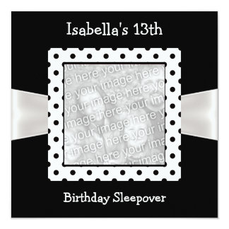 "13th Birthday Sleepover White Black Spots Photo 5.25"" Square Invitation Card"