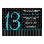 "13th Birthday Teal Blue Black Polka Dot Stripes 5"" X 7"" Invitation Card"