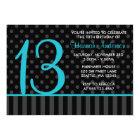 13th Birthday Teal Blue Black Polka Dot Stripes Card