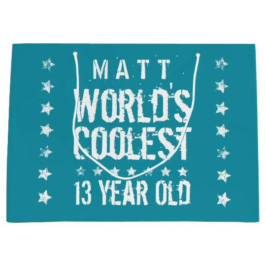 13th Birthday World's Coolest 13 Year Old Teal Z13 Large Gift Bag