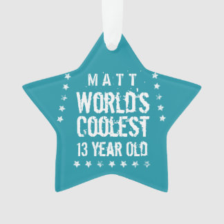 13th Birthday World's Coolest 13 Year Old Teal Z13 Ornament