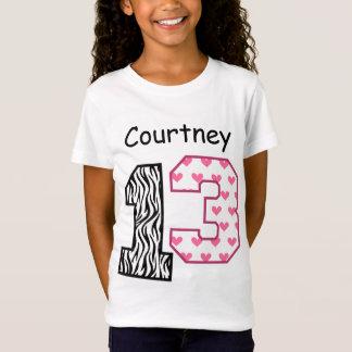 13th Birthday Zebra and Hearts Custom Name V029 T-Shirt