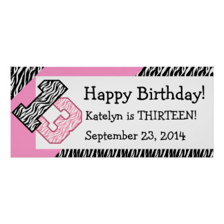 13th Birthday Zebra with Pink Custom Name V09 Poster