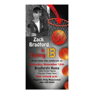 13th Brithday Invitation -PHOTO CARD - Basketball Customized Photo Card