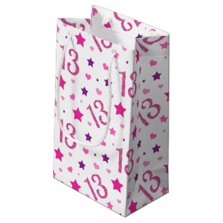 13th Girl Birthday Gift Bag Pink Purple Glitter