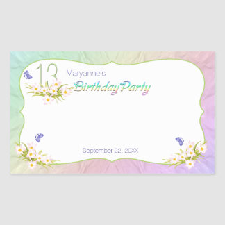 13th Rainbow and Butterflies Birthday Party Rectangular Stickers