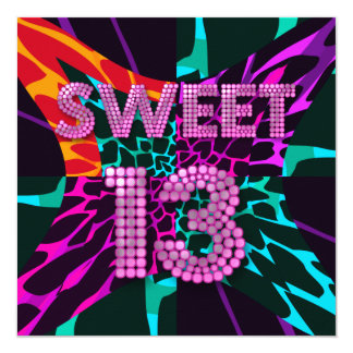 "13th Sweet 13 Birthday Party Mixed Animal Print 5.25"" Square Invitation Card"
