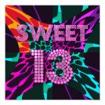 "13th Sweet 13 Birthday Party Mixed Animal Print 5.25"" Square Invitation Card"