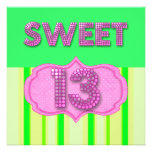 13th Sweet 13 Birthday Party Pink Lime Modern