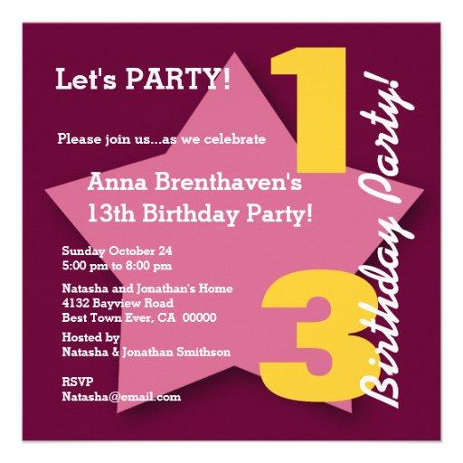 13th Teen Birthday Burgunday Gold Pink Star B03 Invitations