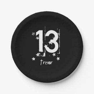 13th Teen Birthday Grunge Letters Stars C13Z1 7 Inch Paper Plate