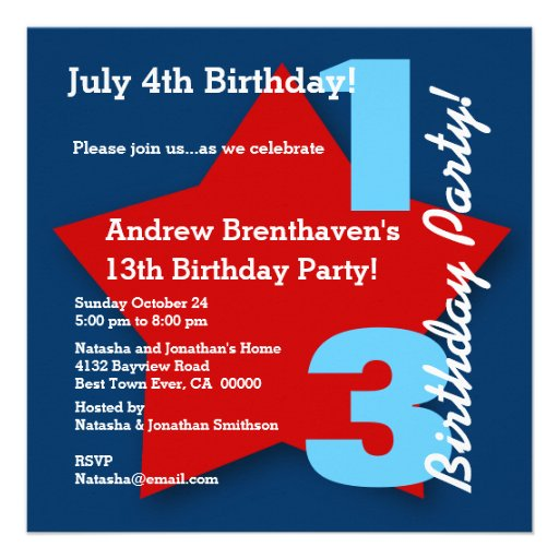 13th Teen Birthday JULY 4th Red White Blue B03 Announcement