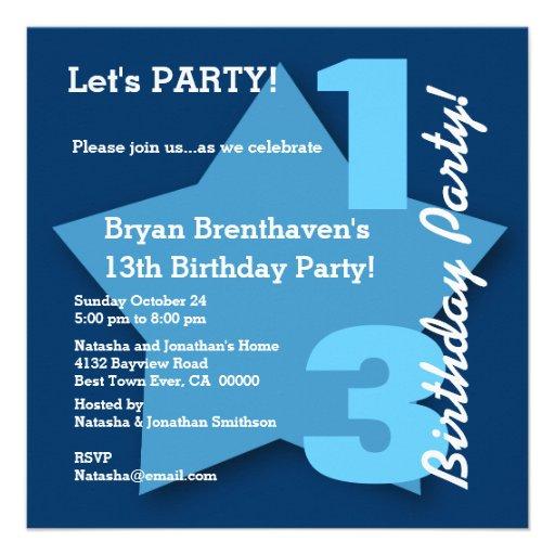 13th Teen Birthday Modern Navy Blue Stars B01 Announcement