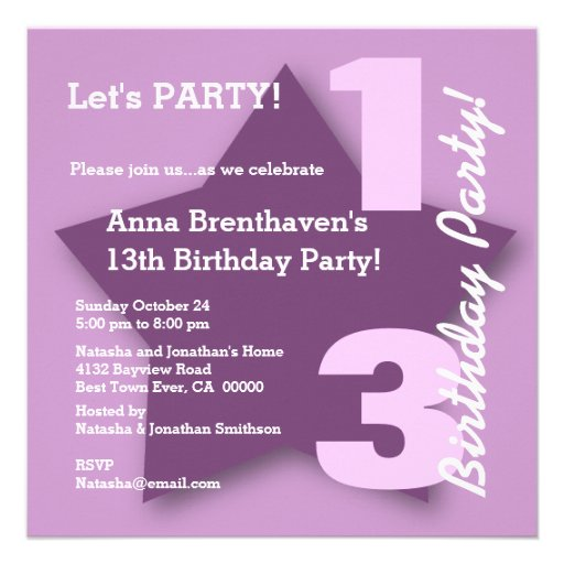 13th Teen Birthday Modern Square PURPLE Star B04 Personalized Announcements