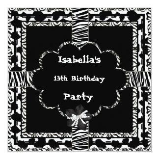 13th Teen Birthday Party Black White Wild  Zebra 5.25x5.25 Square Paper Invitation Card