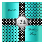 "13th Teen Birthday Party Teal Blue Black Polka Dot 5.25"" Square Invitation Card"