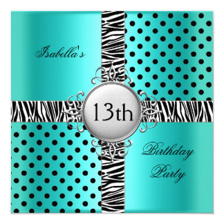 "13th Teen Birthday Party Teal Blue Black Zebra 5.25"" Square Invitation Card"