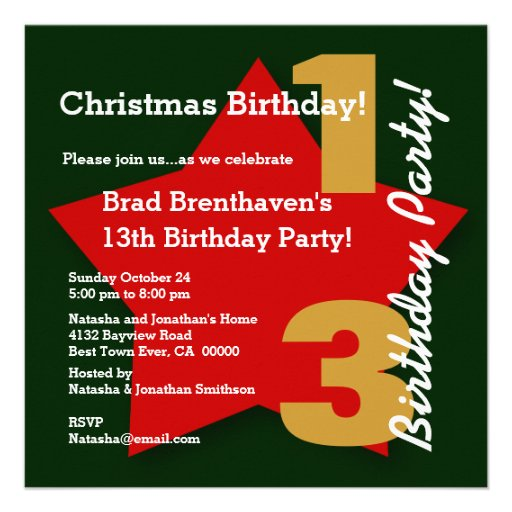 13th Teen CHRISTMAS Birthday Red Star B03 Personalized Announcements