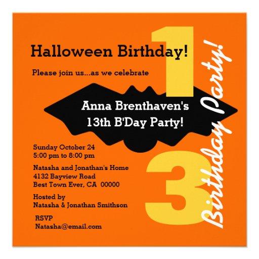 13th Teen HALLOWEEN Birthday Orange Spooky Bat B04 Invite