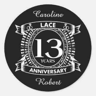 13TH wedding anniversary lace Classic Round Sticker