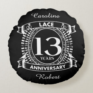 13TH wedding anniversary lace Round Pillow