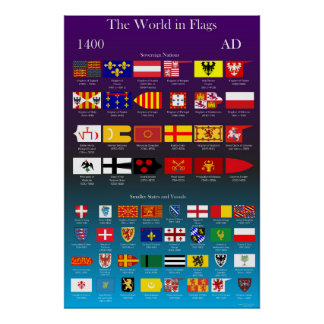 1400 AD Flags of the World Poster