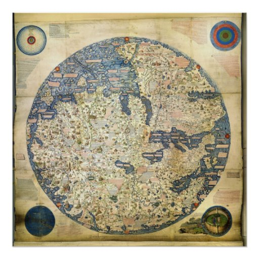 1450 World Map by Venetian Monk Fra Mauro Print