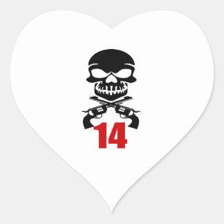 14 Birthday Designs Heart Sticker