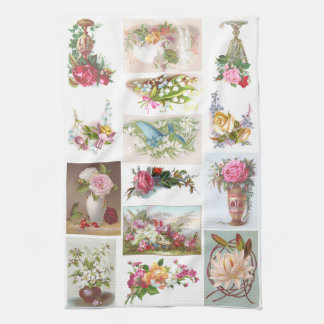 14 Floral Victorian Trade Cards Collage Kitchen Towel