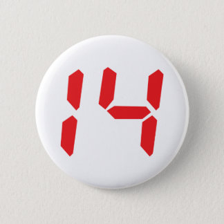 14 fourteen  red alarm clock digital number 2 inch round button