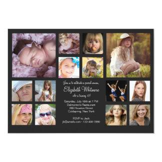 """14 Photo Collage 5"""" X 7"""" Invitation Card"""