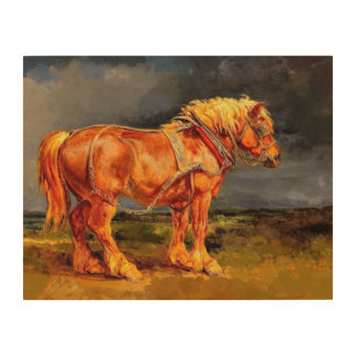"14""x11""  Horse painting Wood Wall Art Wood Prints"