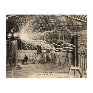 """14""""x11"""" Nikola Tesla in His Lab Wood Wall Art"""