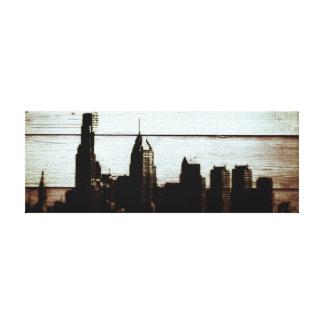 14'' x 11'', 1.5 philly skyline burnt wood print