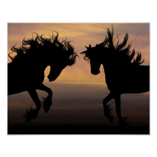 "14"" x 11"", Value Poster (Matte) - Twin Horses"