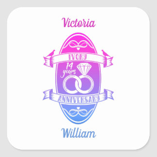 14 Year traditional ivory 14th wedding anniversary Square Sticker