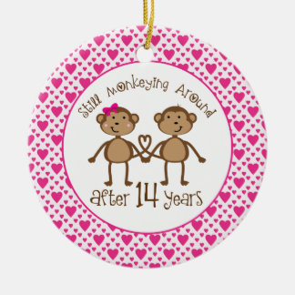 14th Anniversary Monkey Love Ornament