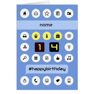 14th birthday add name computing personalized card