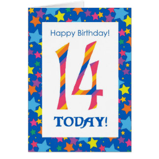 14th Birthday Bright, Colorful Stripes and Stars Card